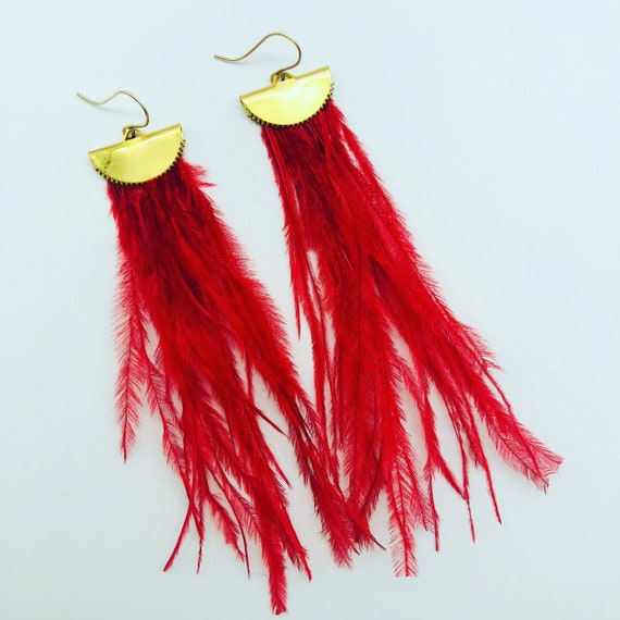 Ostrich Feather Earrings - Choose Color