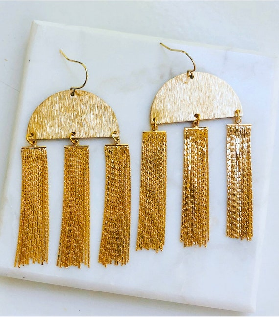 Triple Chain Tassel Earrings