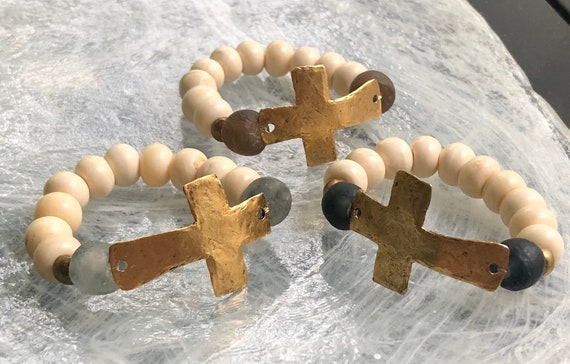 Ivory Bone and Seaglass Bead Bracelet with Hammered Gold Cross