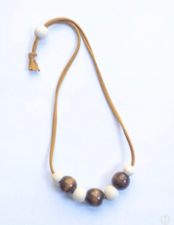Camel Jersey Cord + Round Brown/Off White Wood Bead Necklace