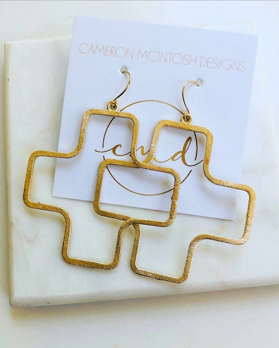 Large Gold Square Cross Earrings on Gold Filled Ear Wire