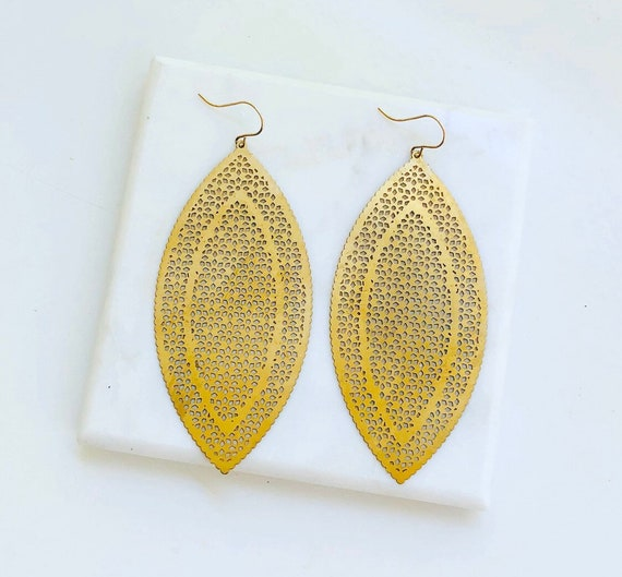 Large Brass Marquis Earrings