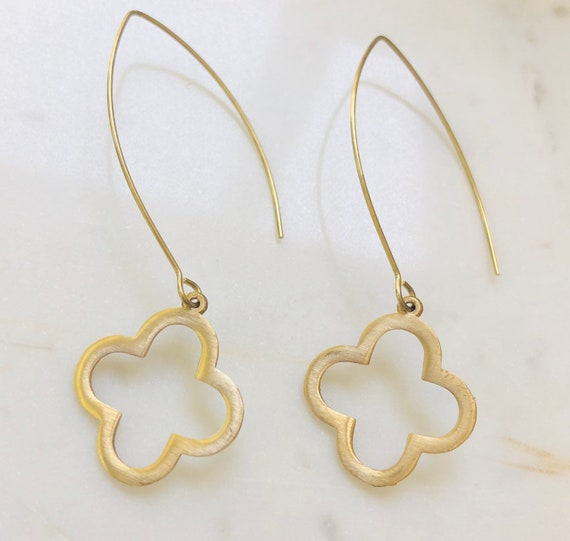 Long Gold Quatrefoil Earrings