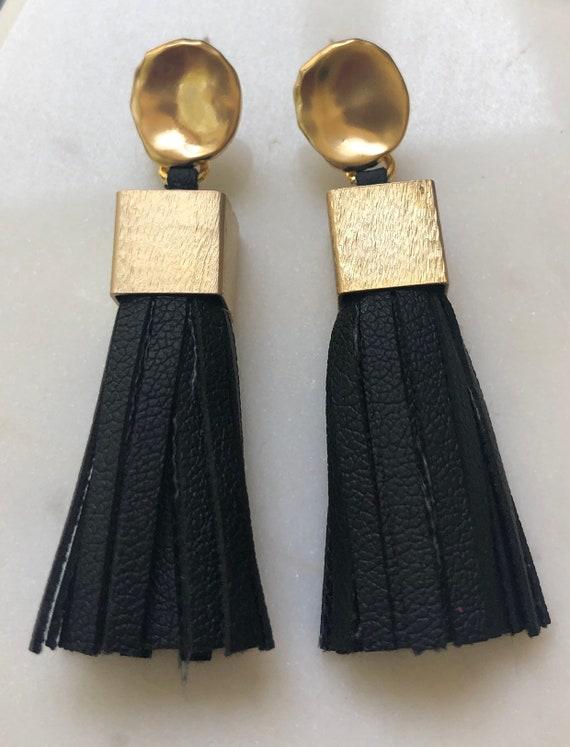 Leather Tassel Earrings on Round Ear Post - Choose Black or Off White