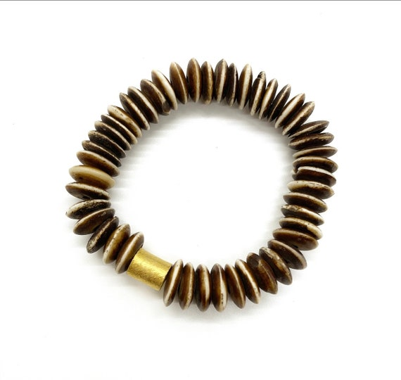 Wood Disc Bead Bracelet with Gold Accent