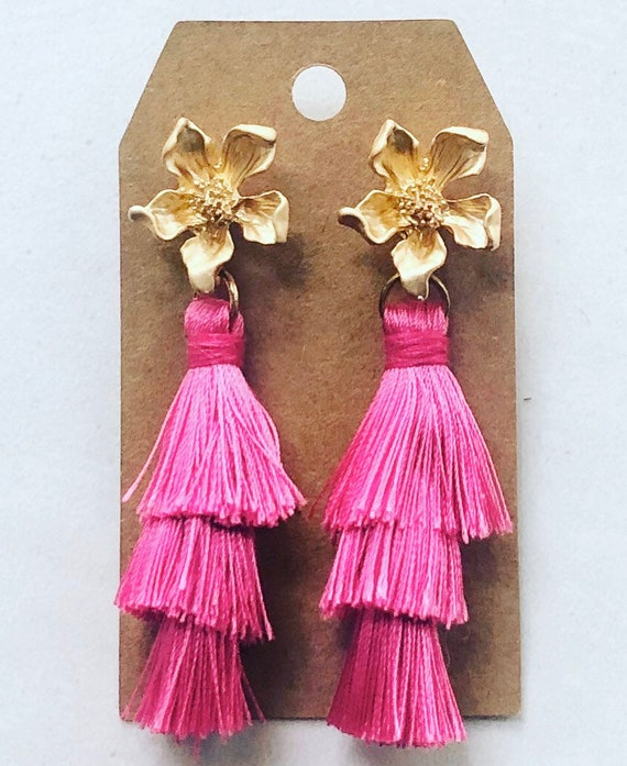 Pink Tiered Tassels on Gold Flower Post