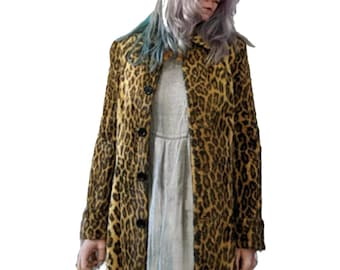 7a87c9bcf602 Leopard Faux Fur Coat 90s Fuzzy Jacket Snow Leopard Furry Vegan Vintage  Bohemian Animal Disco 80s Hipster Boho Small to Medium