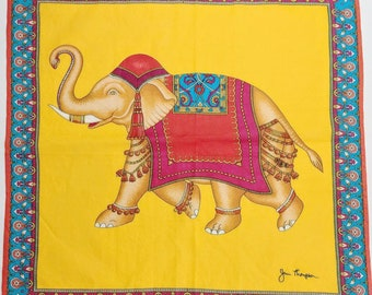 Jim Thompson Elephant Silk Thai Scarf, Vintage Collectible Textile, Fine  Luxury Screen Print 9e25f13906