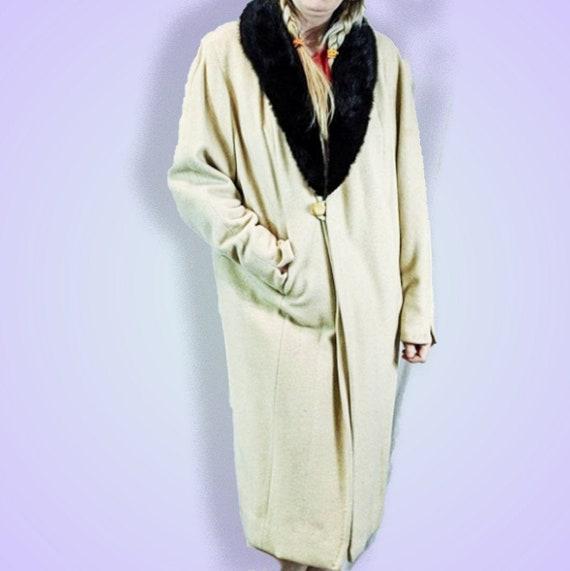Fur Collar Cashmere Coat 1940s Vintage Overcoat Mi