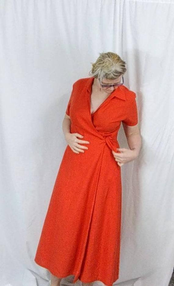 Vintage Linen Wrap Dress, 1990s Orange Tie Dress,