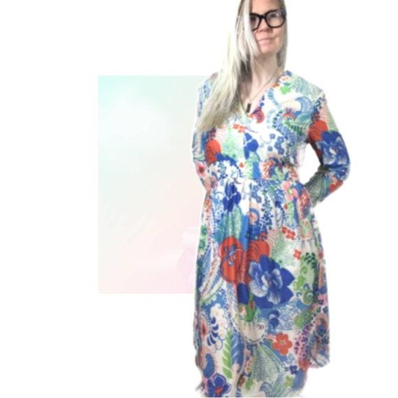 70s Black Floral Dress  Maxi Long Dress  Short Sleeve Dress  Vintage Boho Bohemian Dress  Retro Printed Dress  Medium Belted Dress