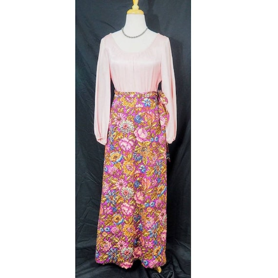 Psychedelic Quilted Floral Dress 70s Boho Hippie M