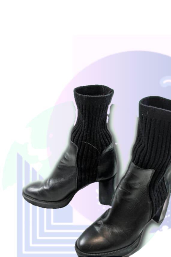 Black Leather Platform Sock Boots 1990s Vintage Aq