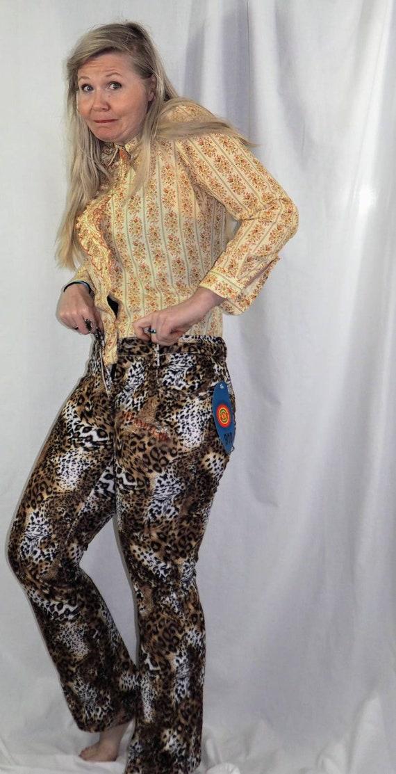 Vintage Leopard Print Pants, 1990s Animal Print P… - image 5