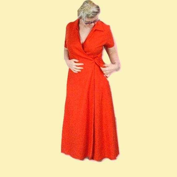 Linen Wrap Dress 1990s Vintage Orange Loose Fit Ti
