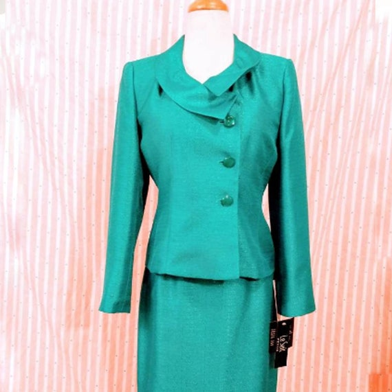 Le Suit Skirt Suit For Women Teal Blazer Metallic