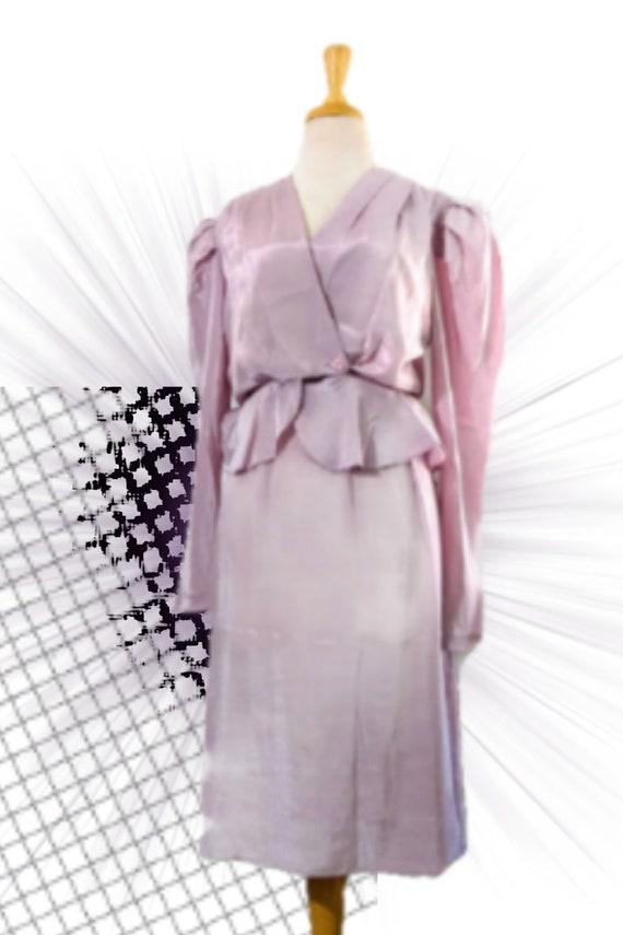 1980s does 40s Shimmer Lavender Set, Vintage Women
