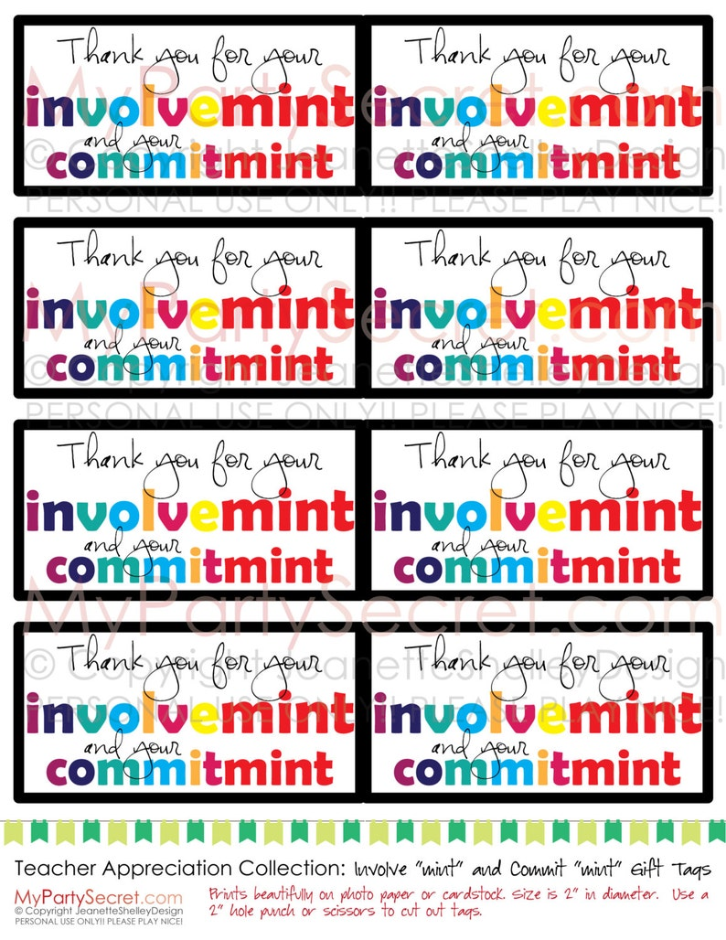 picture relating to Thank You for Your Commit Mint Printable referred to as prompt down load (listed as is) Printable Instructor Appreciation \