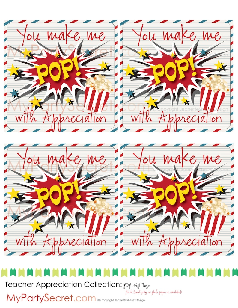 image relating to Popcorn Teacher Appreciation Printable known as immediate obtain Do-it-yourself Printable Appreciation Popcorn Present Tags
