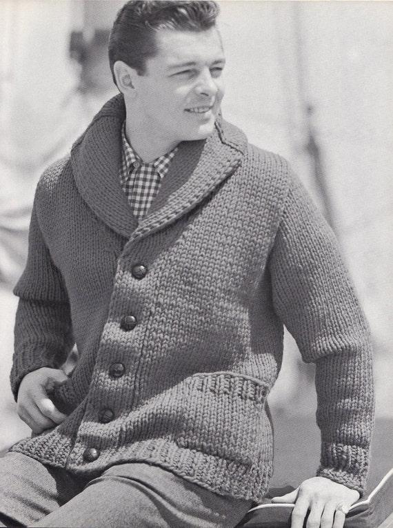 Knit Mens Cardigan With Shawl Collar Vintage Knitting Pdf Etsy