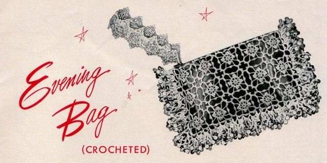 Crochet Lace Clutch Evening Bag Purse 1950s Vintage Etsy