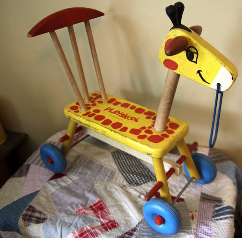 Vintage Playskool Wooden Giraffe Ride On Toy   Etsy