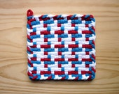Red White and Blue Pinwheel Vintage Pattern Woven Cotton Loop Loom Potholder Modern Farmhouse Kitchen Loft Style