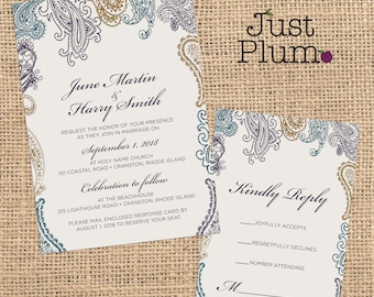 Prim & Paisley Wedding Invitation