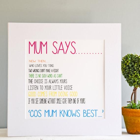 Personalised Print For Mum Birthday Gift