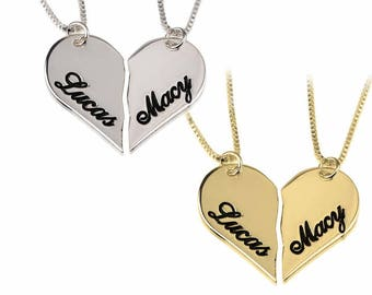 c2cf16ea47 Two Half Heart Necklaces, Engraved Necklace, Custom Name jewelry,Breakable Heart  Pendant, Personalized gift, LOVE Jewelry, Couple Gift
