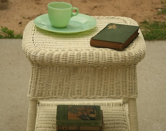 Wicker, Side Table, Girl's Bedroom Decor, End Table