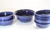 Set of 8 , 1950s, Genuine Fiestaware, Cobalt, 6 Inch, 10 inch, Mixing Bowl, Dessert Bowls, Homer Laughlin Co, Vintage Fiesta Ware