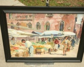 1960s, European Street Art, Open Air Market, Painting, Oil Painting, Romantic, Vintage Painting, Bright Colored Painting, Set Design