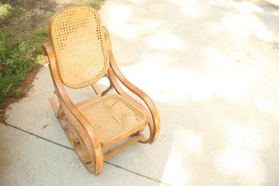 Sensational Vintage Childrens Rocking Chair Nursery Chair Wooden Rocking Chair Antique Rocking Chair Cane Rocker Bent Bamboo Cane Rocker Bedroom Short Links Chair Design For Home Short Linksinfo