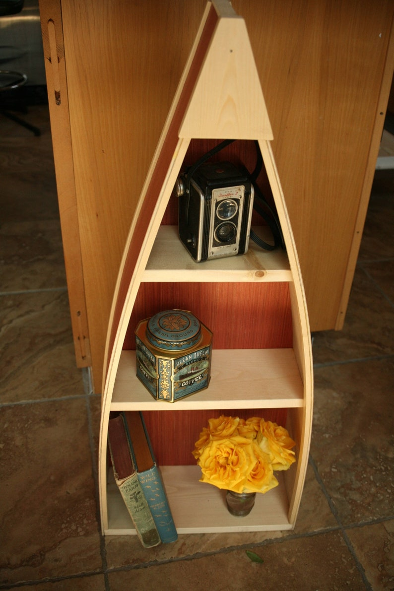 Wood Row Boat Bookshelf Bookcase Book Shelf Home Decor Storage Living Room Nautical Decor Gray Red White