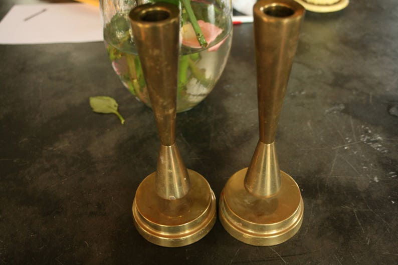 Centerpiece Set of Two Home Decor Brass is Back Modern Decor Kitchen Candles Summer Decor Mid Century Modern Dinning Table