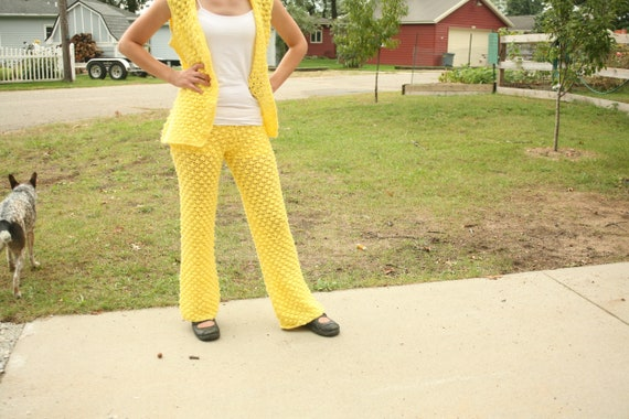 FALL SALE  - Vintage Yellow, Knit Pants, Sweater S