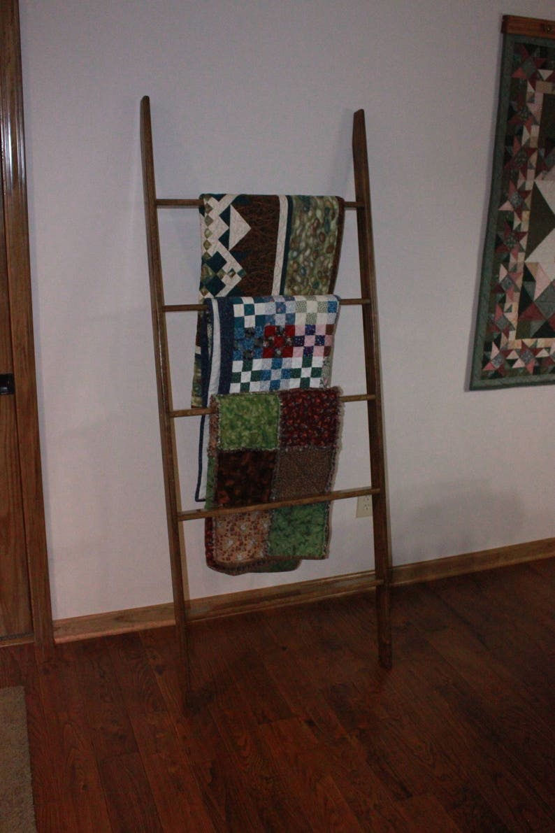 26 stain colors available 72 Tall Oak Ladder Quilt Rack 24 widths Available in 20 22