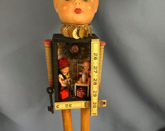 Vintage mixed media assemblage collage display doll with 3-D eclectic parts