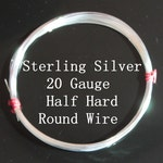 20 g ga Gauge Sterling Silver Wire - Round - Half Hard - sold by one foot increment (RW2001SS)