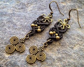 Macrame earrings boho chic long kaki bohemian jewelry by Creations Mariposa READY TO SHIP