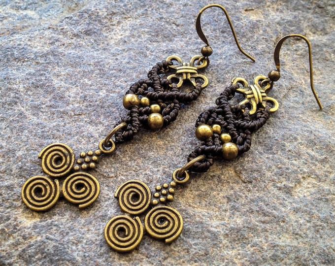 READY TO SHIP Macrame earrings boho chic long kaki bohemian jewelry