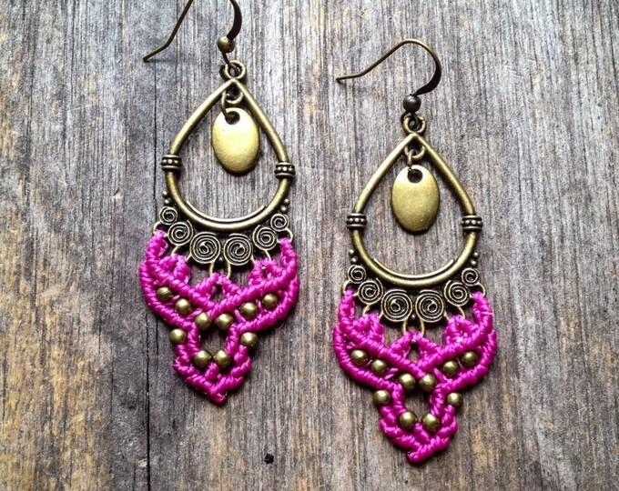 Macrame gypsy earrings boho jewelry bohemian