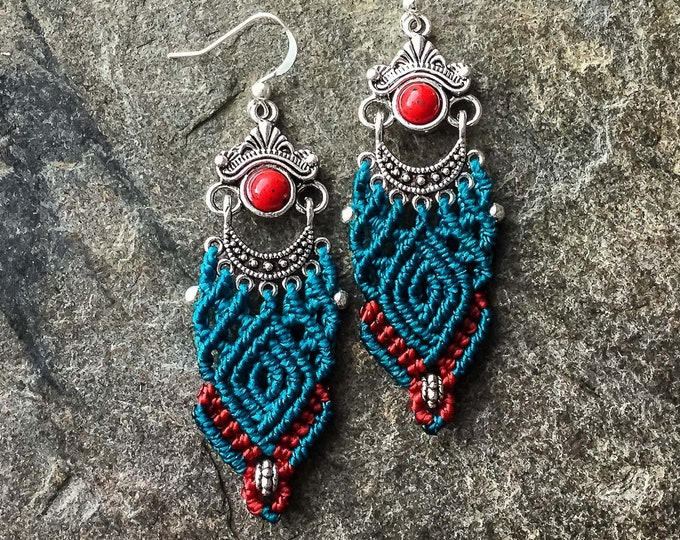 Micro macrame earrings Colors of Tibet bohemian boho chic jewelry