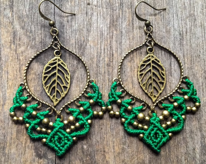 Big gypsy elven leaf micro macrame earrings bohemian boho chic jewelry