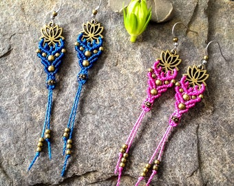 Micro macrame lotus earrings boho chic yoga jewelry by Creations Mariposa