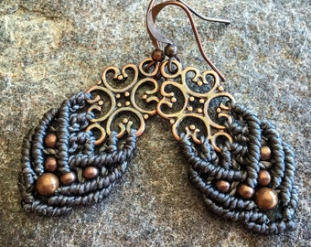 Small Macrame earrings victorian boho jewelry antique brass tone bohemian women jewelry by Creations mariposa