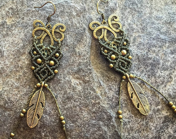 Macrame feather earrings tribal boho bohemian gypsy jewelry macramé