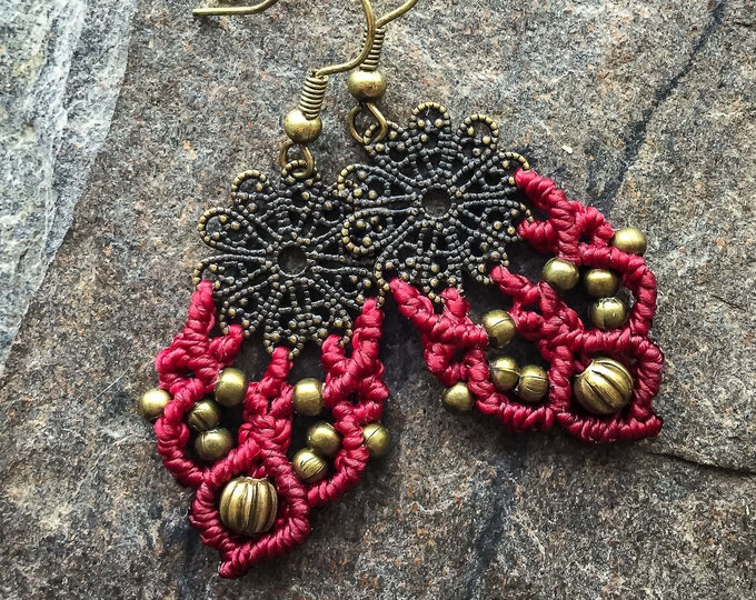 Small Mandala earrings with red Macrame boho bohemian knotted micromacrame READY TO SHIP