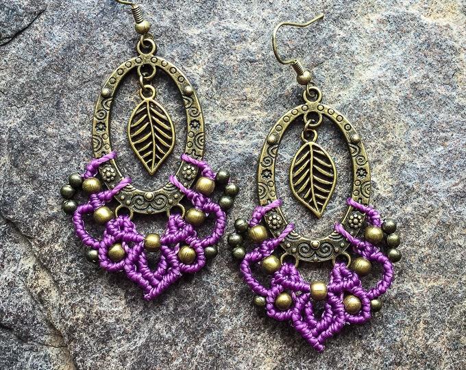 Micro macrame gypsy leaf earrings bohemian boho jewelry